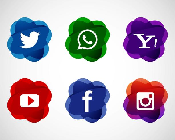 Icônes de médias sociaux élégant abstrait mis en design