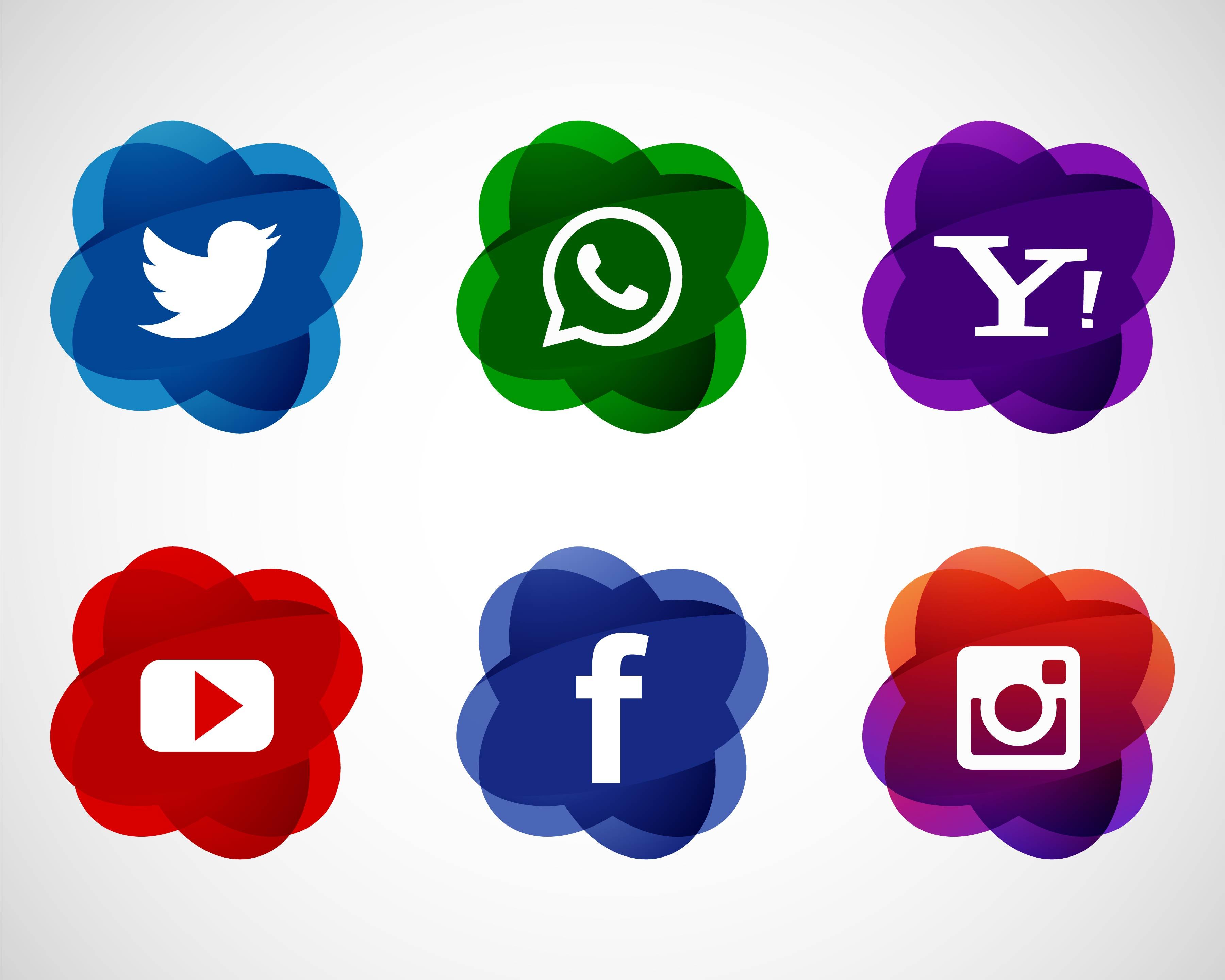 Abstract Elegant Social Media Icons Set Design Download Free Vectors Clipart Graphics