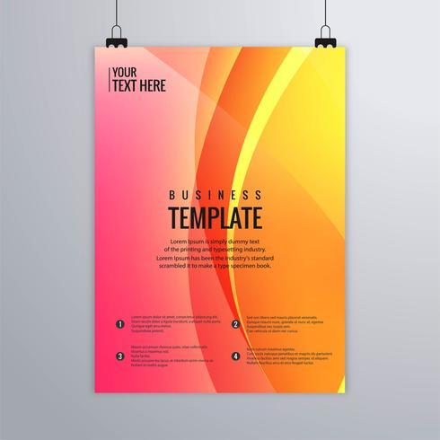 Design de modelo de folheto abstrato colorido onda empresarial