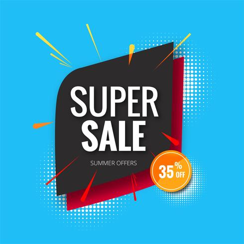 Super vente bannière, vente affiche bannière modèle fond illust