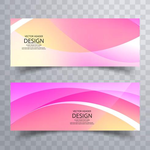 Abstract colorful wavy banners set design