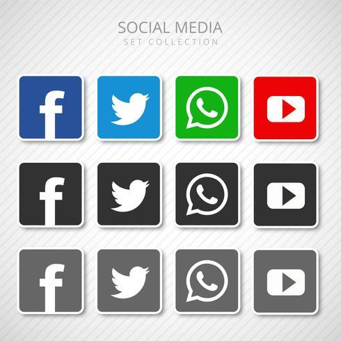 Abstracte sociale media pictogrammen die inzamelingsvector plaatsen