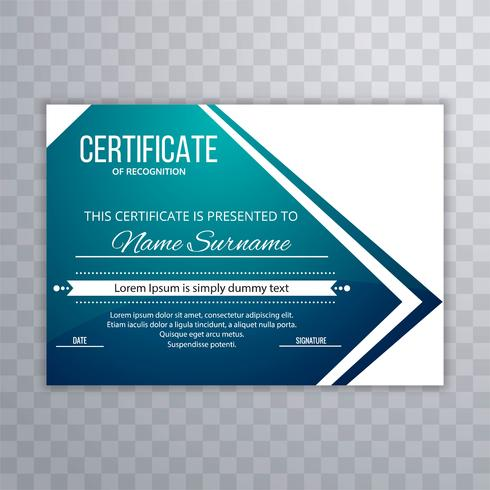 Vecteur de conception de modèle de certificat bleu moderne