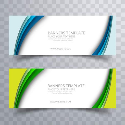 Beautiful colorful wavy banners set template vector