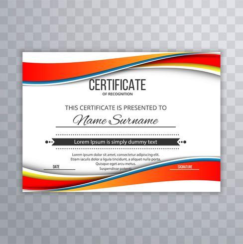 Conception de modèle élégant certificat ondulé créatif