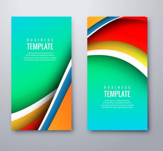 Abstrakt affärsvågiga färgstarka banderoller sätta malldesign