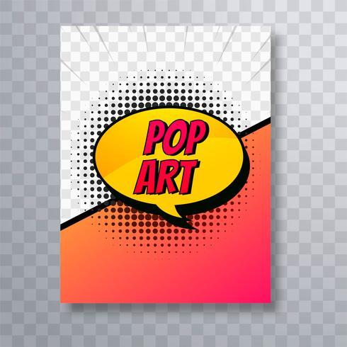 Vector de plantilla de diseño de folleto de cómic colorido arte pop