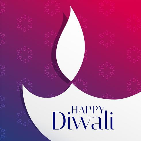 hermoso saludo del festival de diwali con forma de diya plana