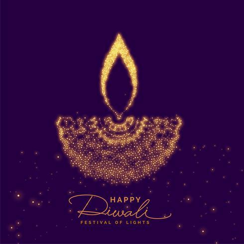 diwali diya créatif fait avec des particules d'or
