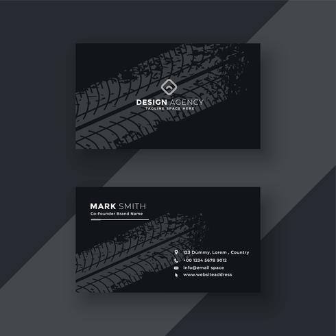 tarjeta de visita oscura abstracta con marca de neumático