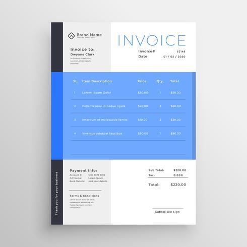 design de modelo de factura azul moderno