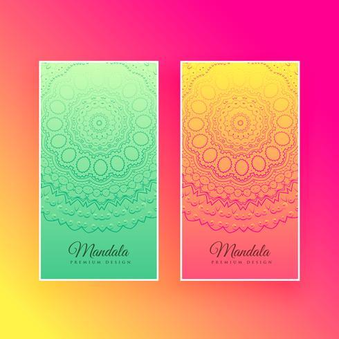 tarjetas verticales de diseño de mandala colorido