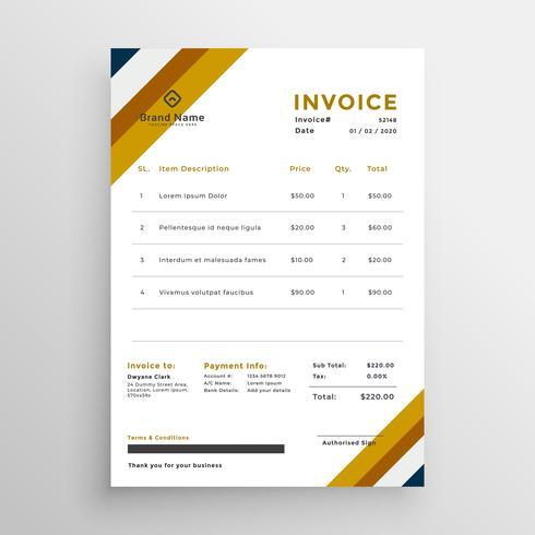 Professionelle Saubere Rechnung Template Design Kostenlose Vektor