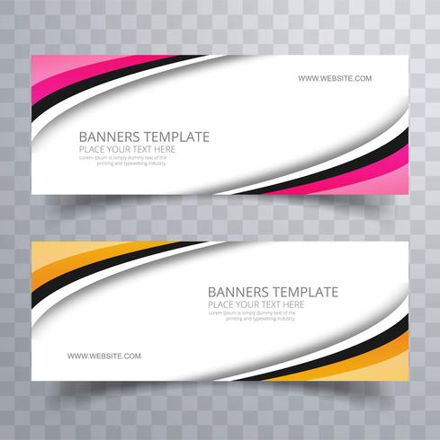 Elegant colorful stylish wavy banners set template vector