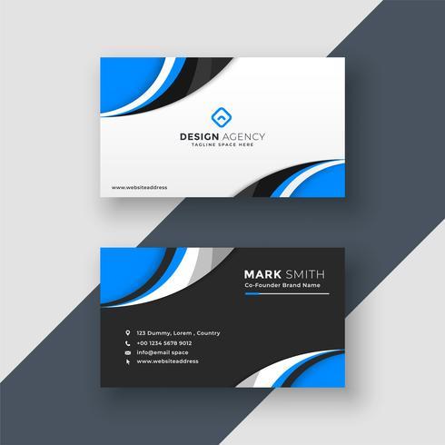 design de carte de visite bleu foncé ondulé et léger
