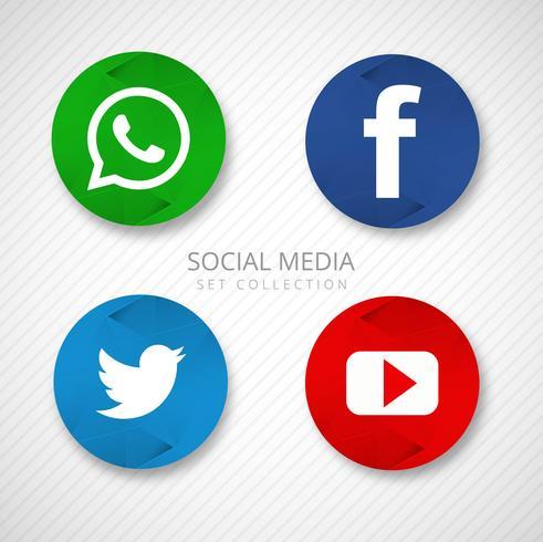 Moderne Social Media-Ikonen stellten Illustrationsvektor ein
