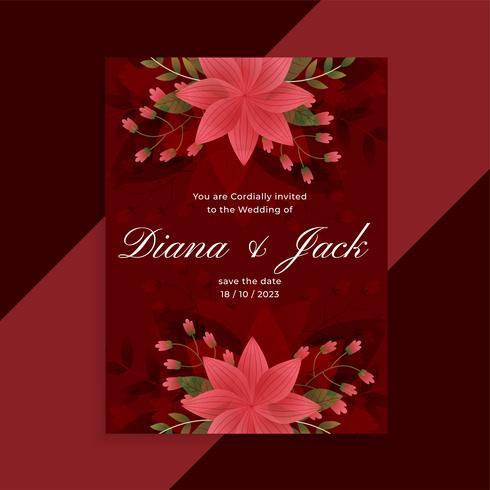 conception de carte florale belle invitation de mariage rouge
