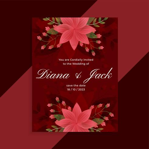 lovely red wedding invitation floral card design