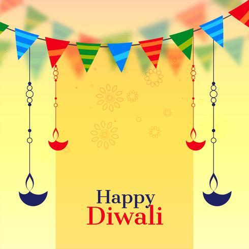 Fondo de celebración de diwali feliz con diya colgante