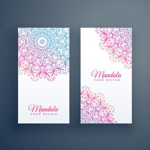 prachtige kleurrijke mandala kaart ontwerp