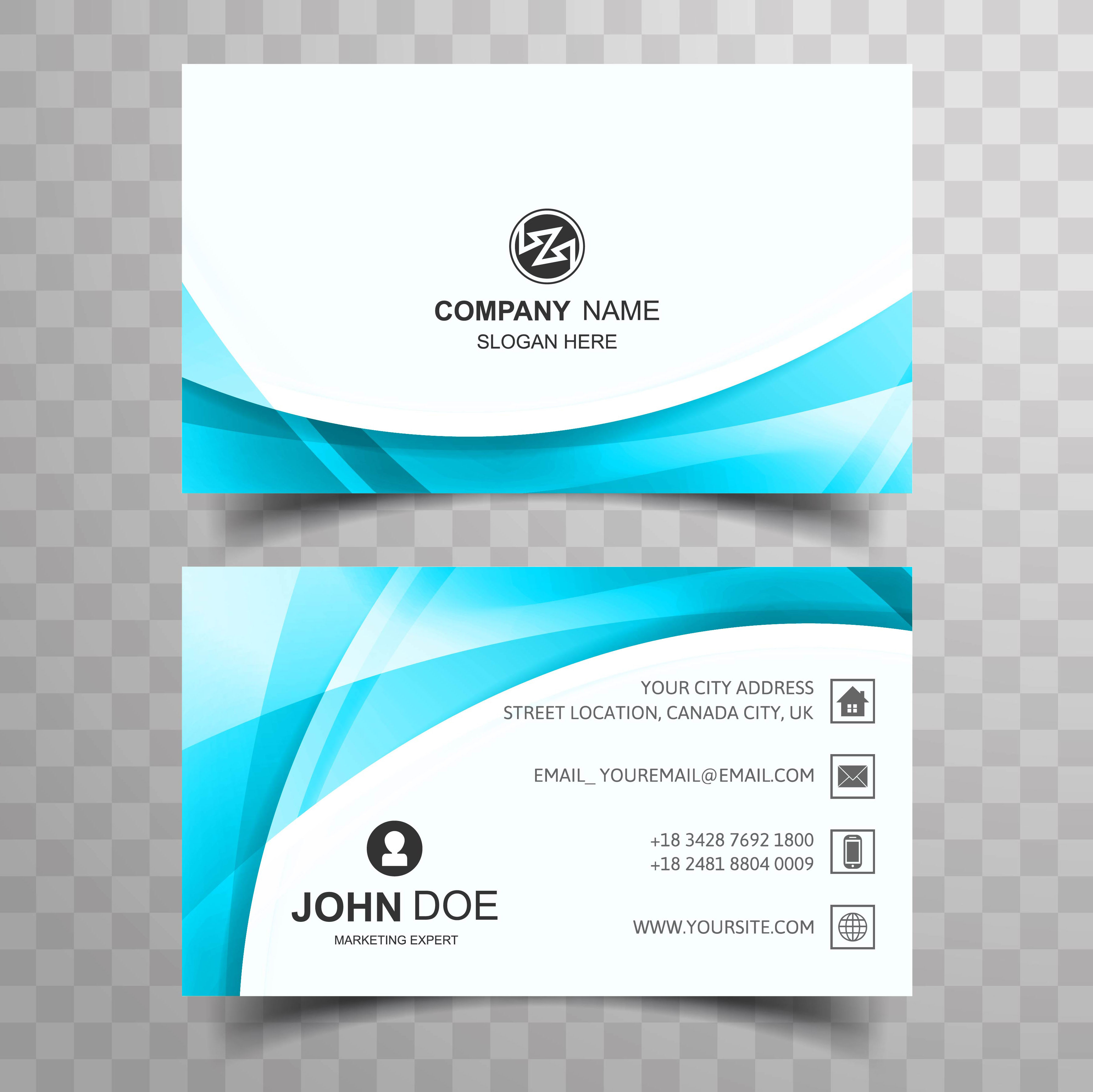 Blue Corporate Stationary Pack By Betty Design: Blue Wavy Business Card Template Design