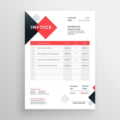 design moderno modelo de factura no tema vermelho