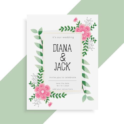 diseño de invitación de boda floral precioso