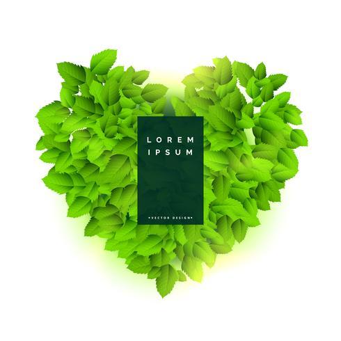 Corazón verde hecho con hojas