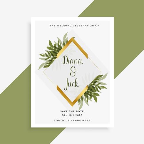 elegant bröllopskortdesign med ram av löv