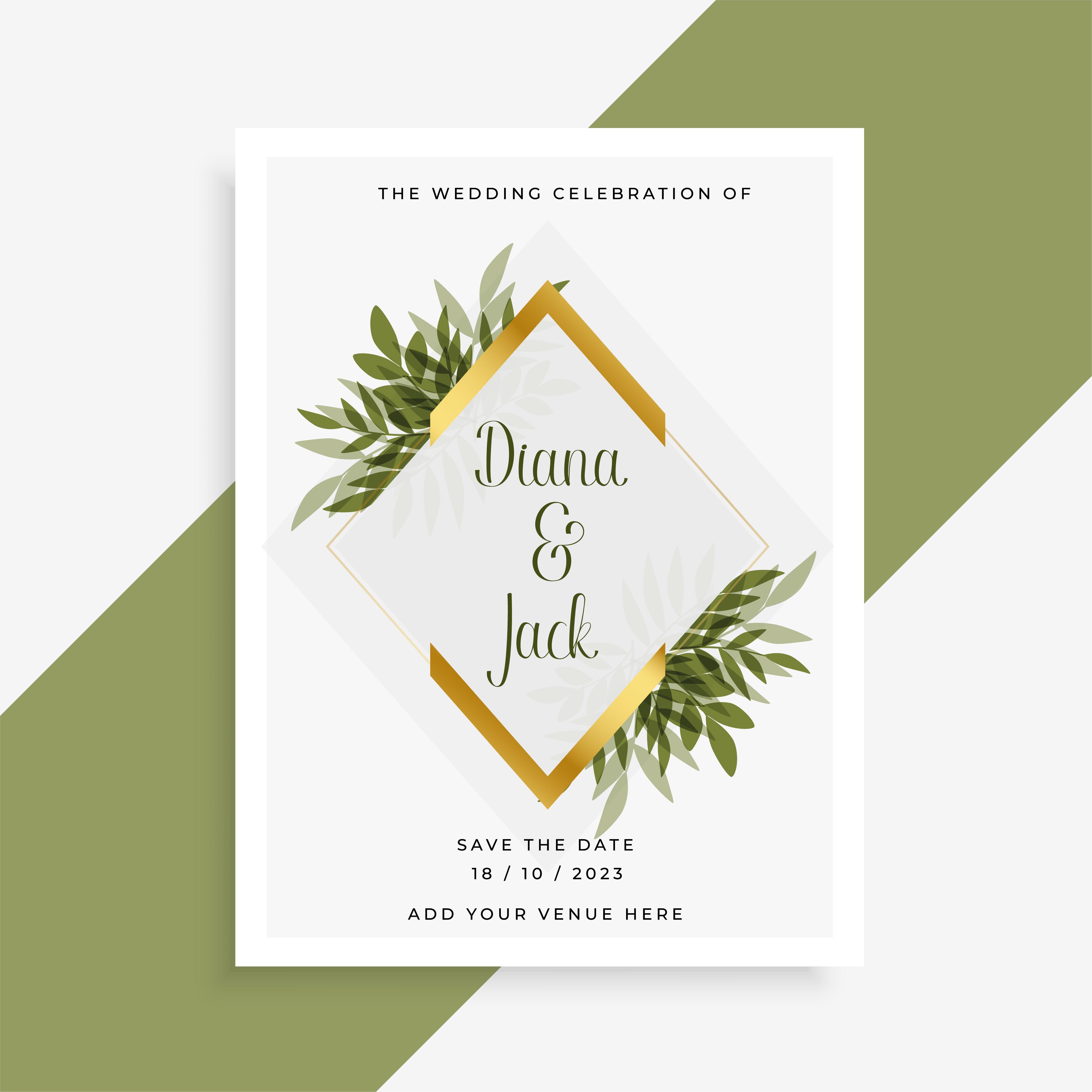 elegant wedding card design with frame of leaves