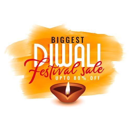 modèle d'aquarelle diwali pour la vente de festival