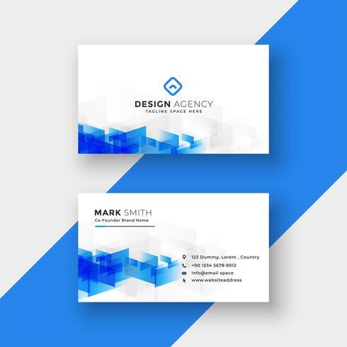 tarjeta blanca con formas abstractas azules