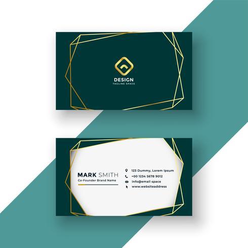 diseño elegante de tarjeta de visita con marco dorado