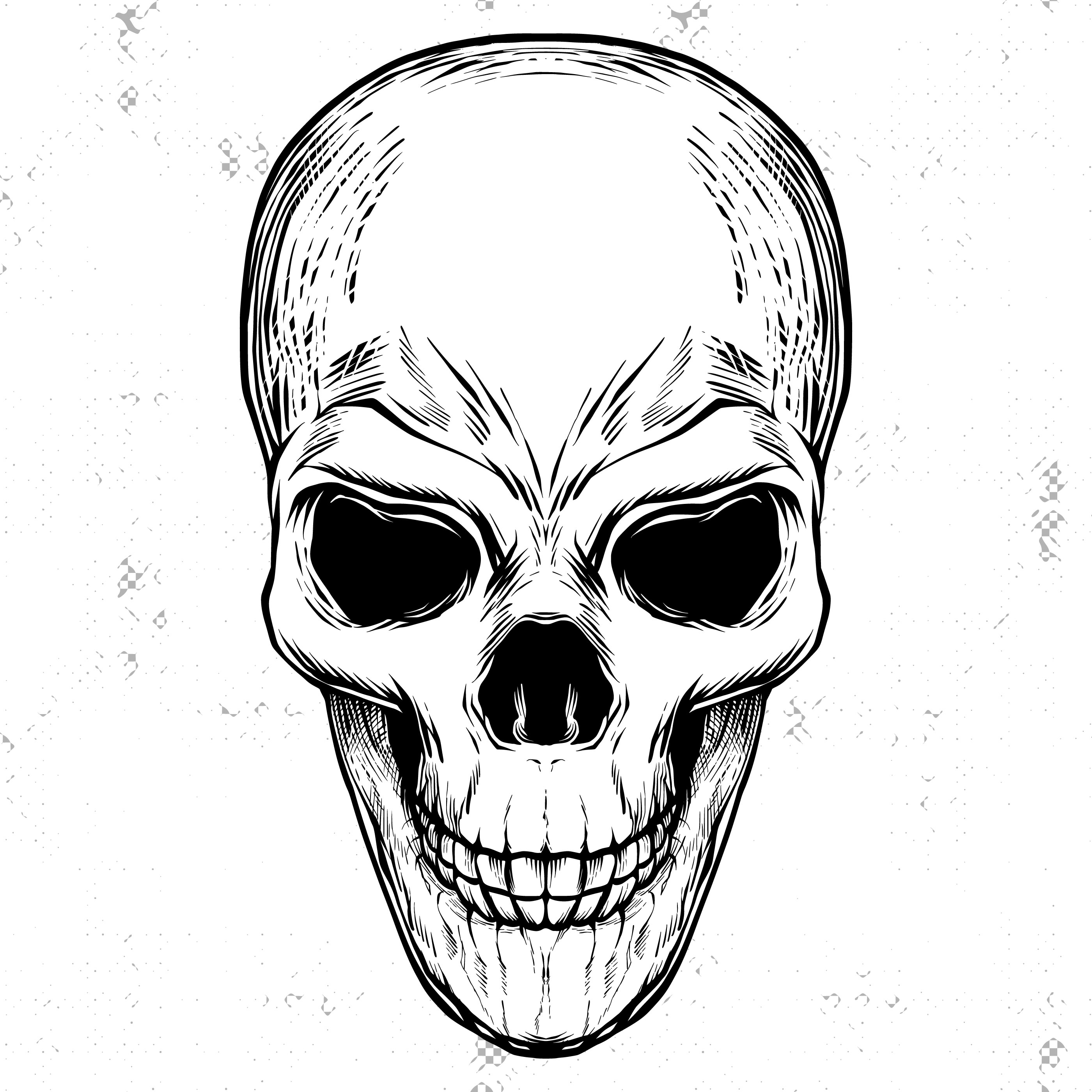 This is an image of Dramatic Skull Drawing Black And White