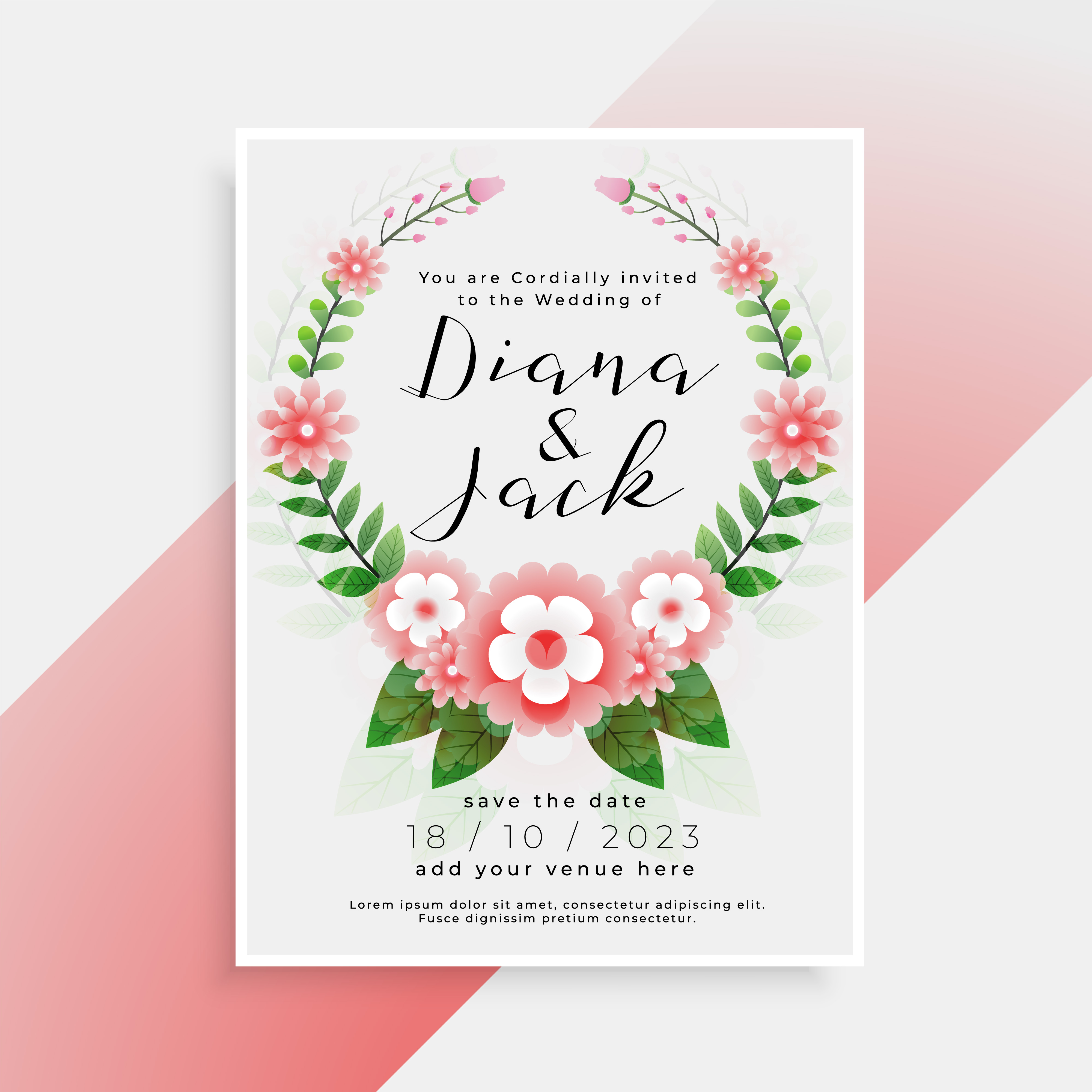 beautiful floral wedding card invitation design  download