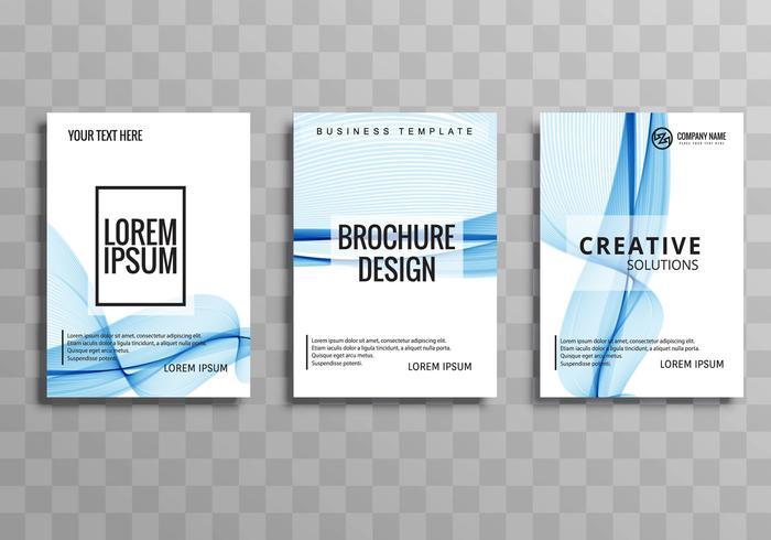 Abstract blue wave business brochure set design vector