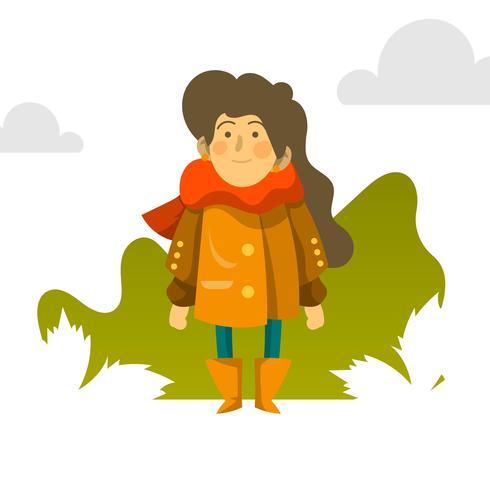 Flat Girl en automne saison personnage Vector Illustration