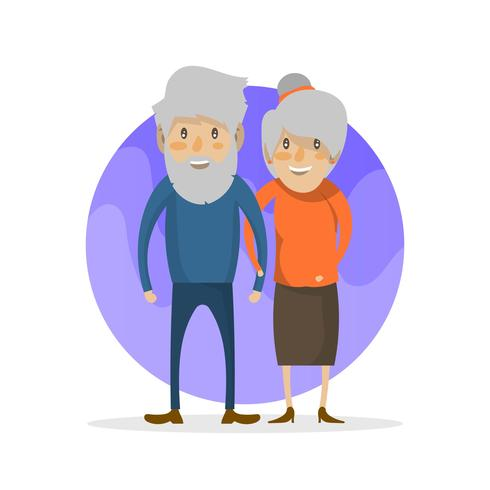 Platte grootouders karakter vectorillustratie