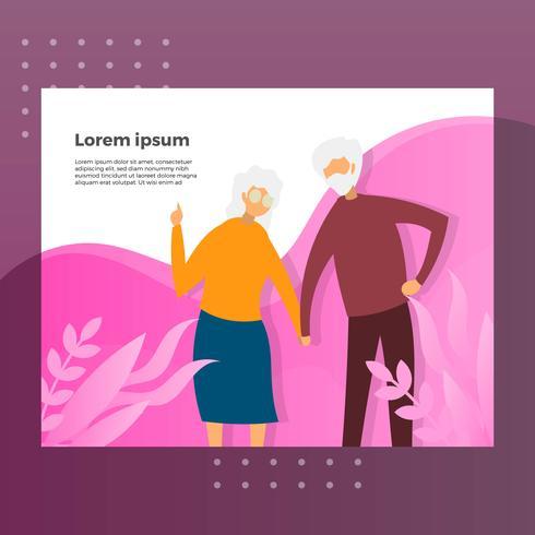 Ilustración plana del vector de la página de aterrizaje del carácter de los abuelos