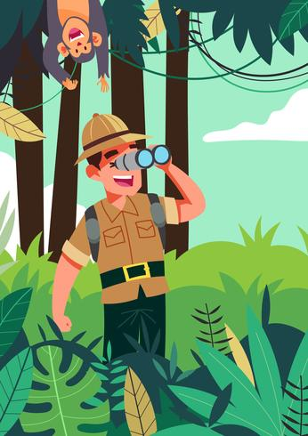 Ilustração de exploradores da selva