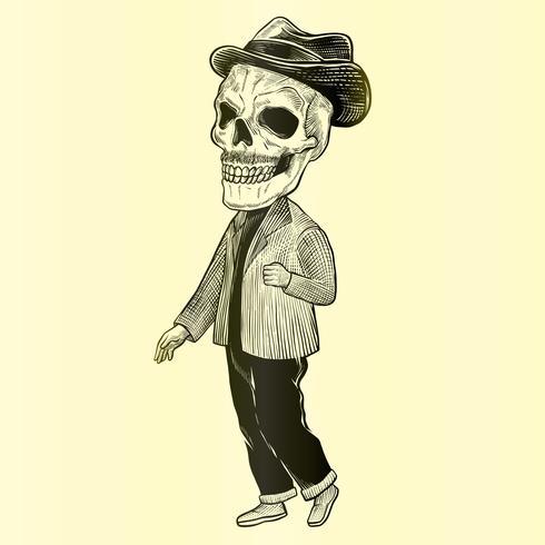 Hipster Skull Silhouette Avec Moustache Vintage Gravure Illustration