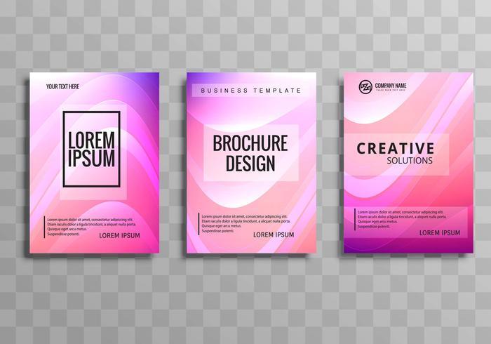Diseño de plantillas de onda colorida folleto de negocios hermosa