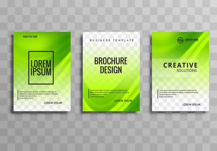 Abstrakt grön affär broschyr våg uppsättning mall