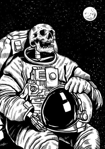 Skelettet Linocut Astronaut vektor