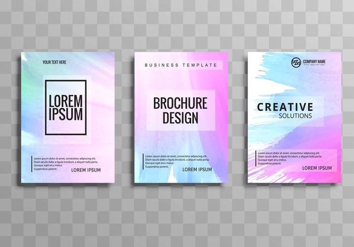 Vecteur de modèle de brochure abstrait aquarelle coloré