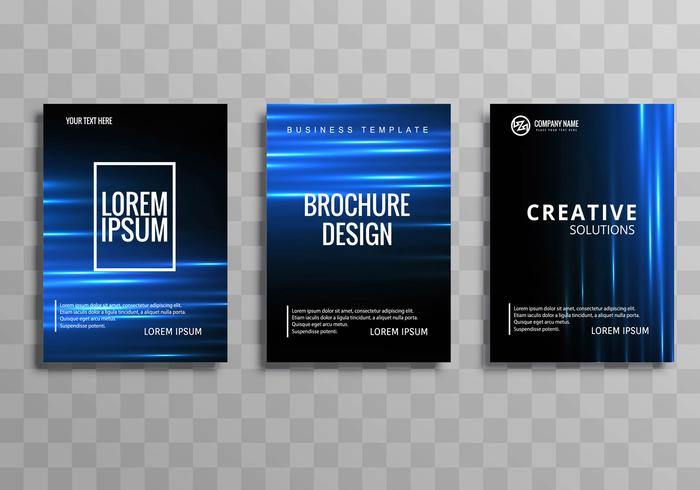 Diseño de plantilla de folleto comercial azul brillante abstracto