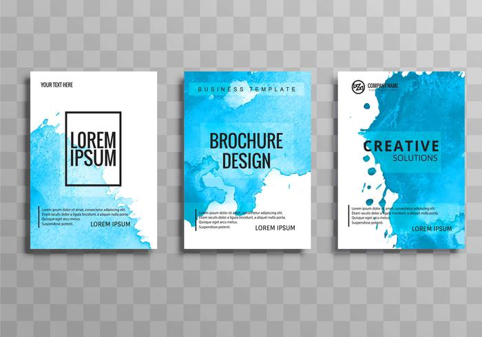 Abstract elegant blue business brochure set vector