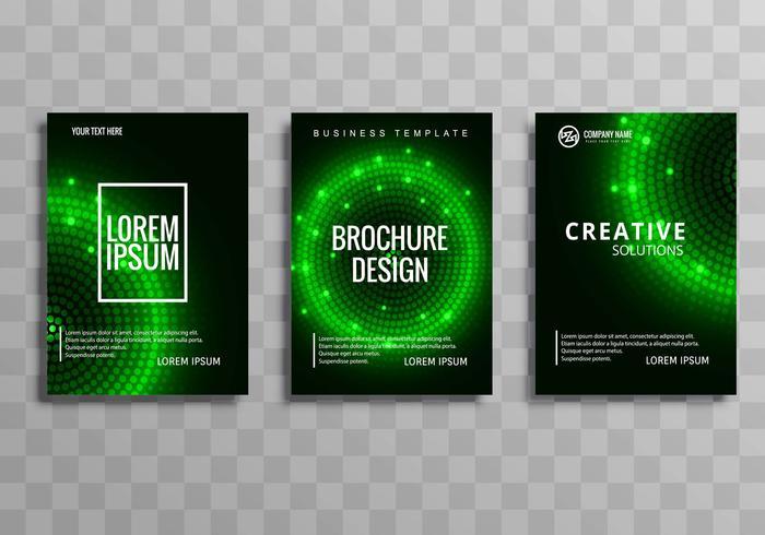 Modelo de folheto empresarial verde colorido moderno definir plano de fundo