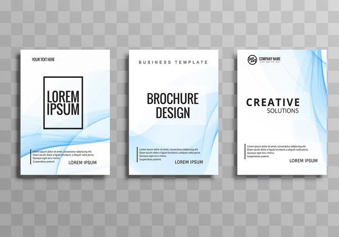 Beautiful business brochure blue wave template