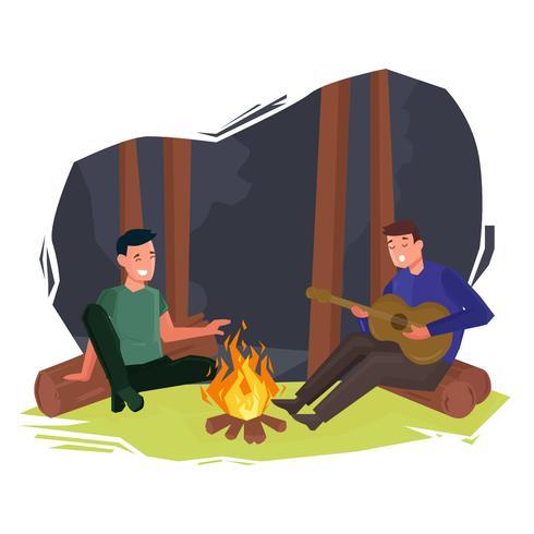 Musique autour de feu de camp vector illustration